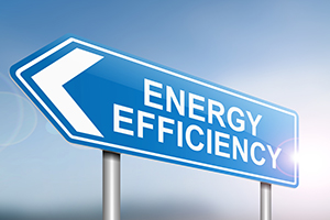 Illustration depicting a sign with an energy efficiency concept.